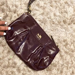 Plum Patent leather Authentic Coach Wristlet